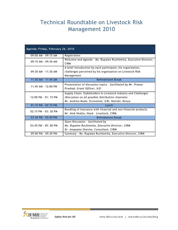 Technical Roundtable on Livestock Risk                   Management 2010Agenda: Friday, February 26, 2010  09:00 AM - 09:1...