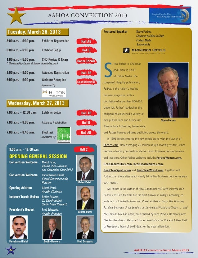 AAHOA CONVENTION 2013Tuesday, March 26, 2013                                                           Featured Speaker  ...