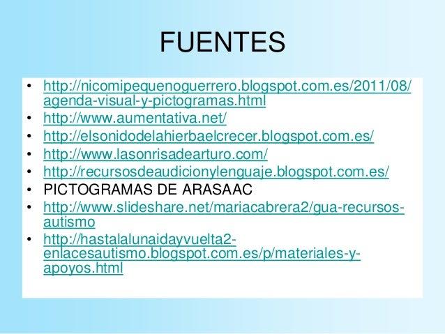 FUENTES • http://nicomipequenoguerrero.blogspot.com.es/2011/08/ agenda-visual-y-pictogramas.html • http://www.aumentativa....