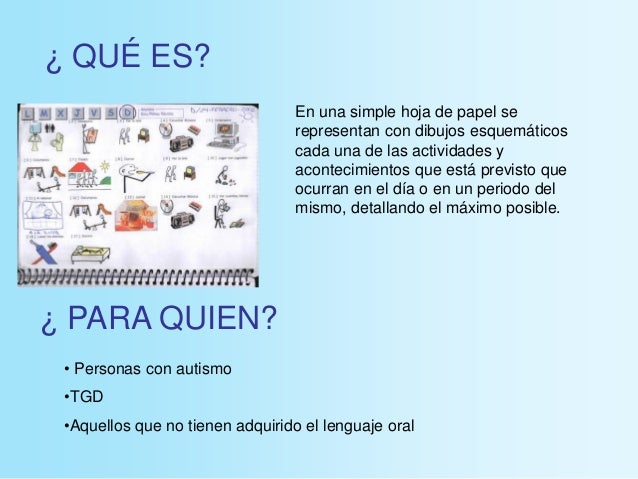 ¿ QUÉ ES? ¿ PARA QUIEN? • Personas con autismo •TGD •Aquellos que no tienen adquirido el lenguaje oral En una simple hoja ...