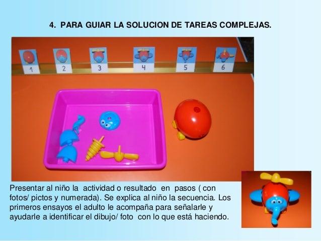 4. PARA GUIAR LA SOLUCION DE TAREAS COMPLEJAS. Presentar al niño la actividad o resultado en pasos ( con fotos/ pictos y n...