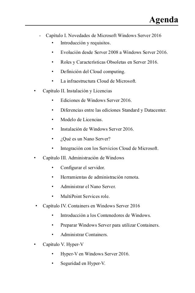 -- Capítulo I. Novedades de Microsoft Windows Server 2016 • Introducción y requisitos. • Evolución desde Server 2008 a W...