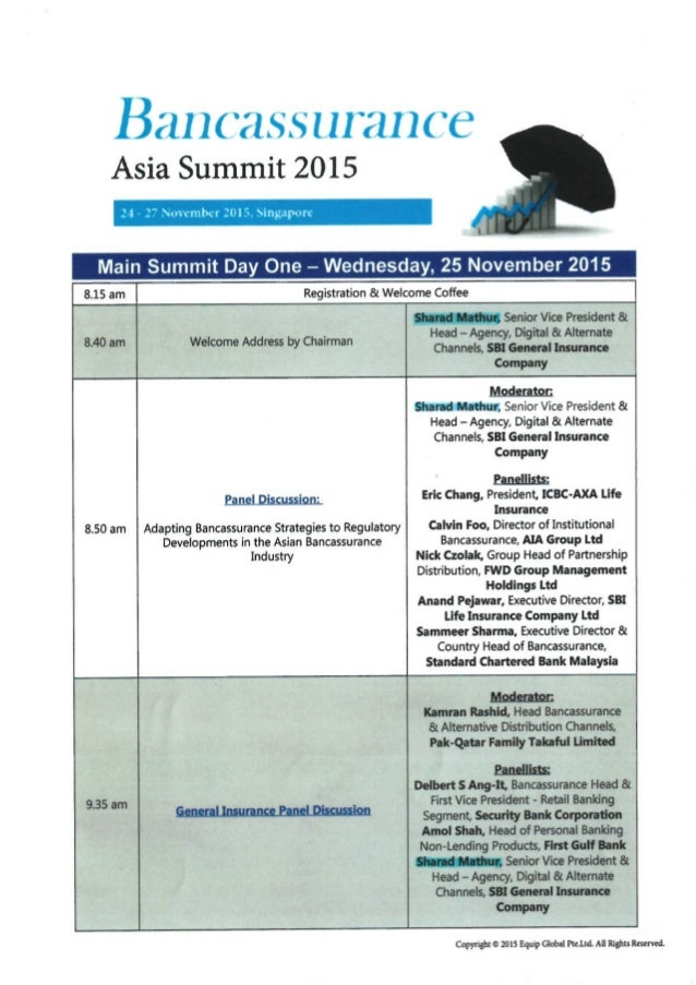 Agenda - Bancassurance Asia Summit 2015, Singapore