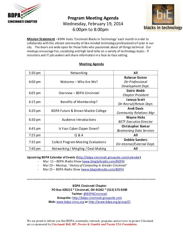 Agenda Program Meeting Sample