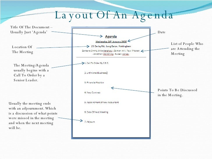 Superior Layout Of An Agenda ...