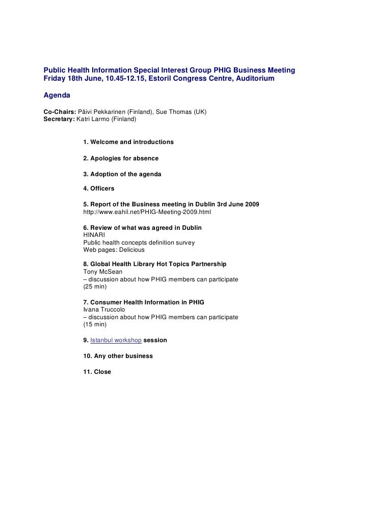 business meeting agenda lisbon estoril 18 june 2010