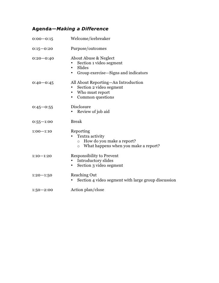 Agenda—Making a Difference  0:00—0:15    Welcome/icebreaker  0:15—0:20    Purpose/outcomes  0:20—0:40    About Abuse & Neg...