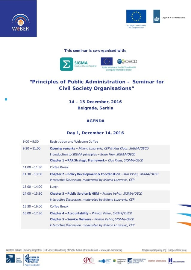 """This seminar is co-organised with: """"Principles of Public Administration – Seminar for Civil Society Organisations"""" 14 – 15..."""