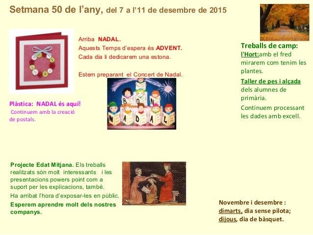 Setmana 50 de l'any, del 7 a l'11 de desembre de 2015 Novembre i desembre : dimarts, dia sense pilota; dijous, dia de bàsq...