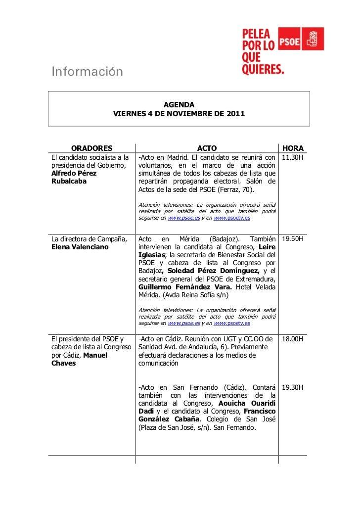 Información                                  AGENDA                      VIERNES 4 DE NOVIEMBRE DE 2011       ORADORES    ...