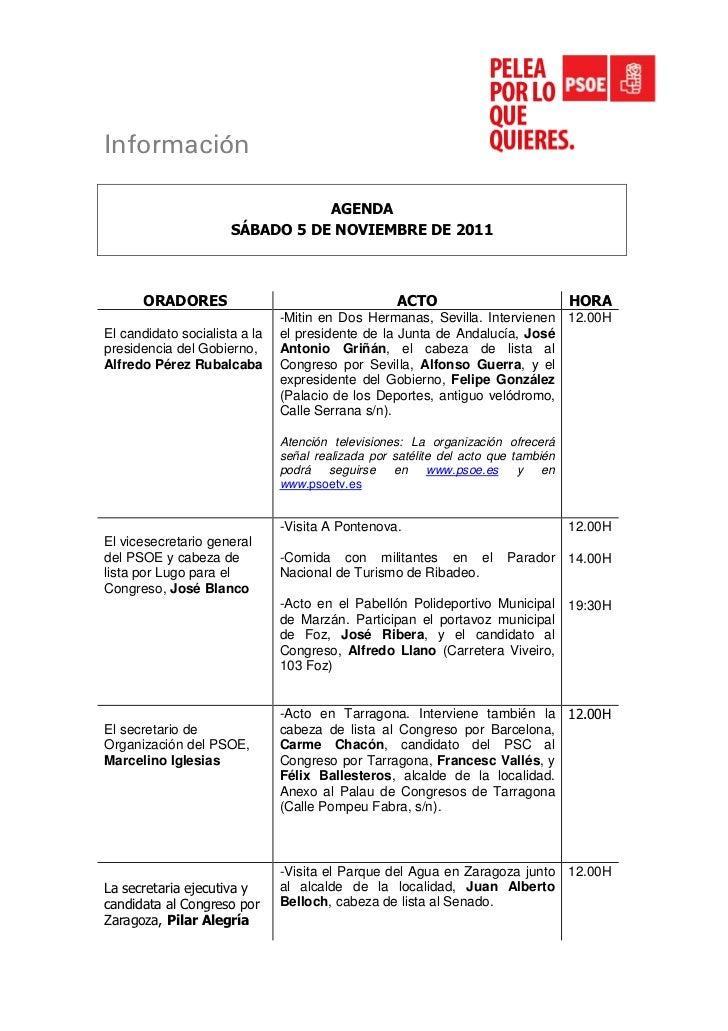 Información                                 AGENDA                      SÁBADO 5 DE NOVIEMBRE DE 2011      ORADORES       ...