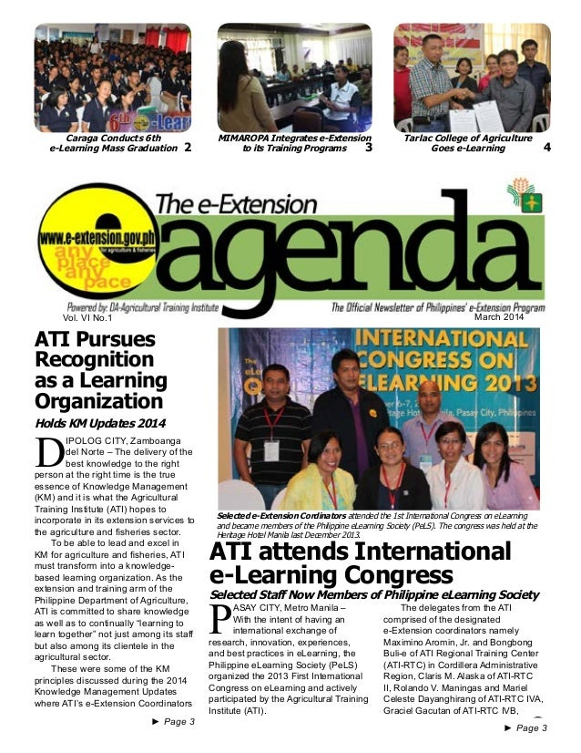 e-Extension Agenda March 2014 1 Vol. VI No.1 March 2014 ►► Page 3 ►► Page 3 P ASAY CITY, Metro Manila – With the intent of...