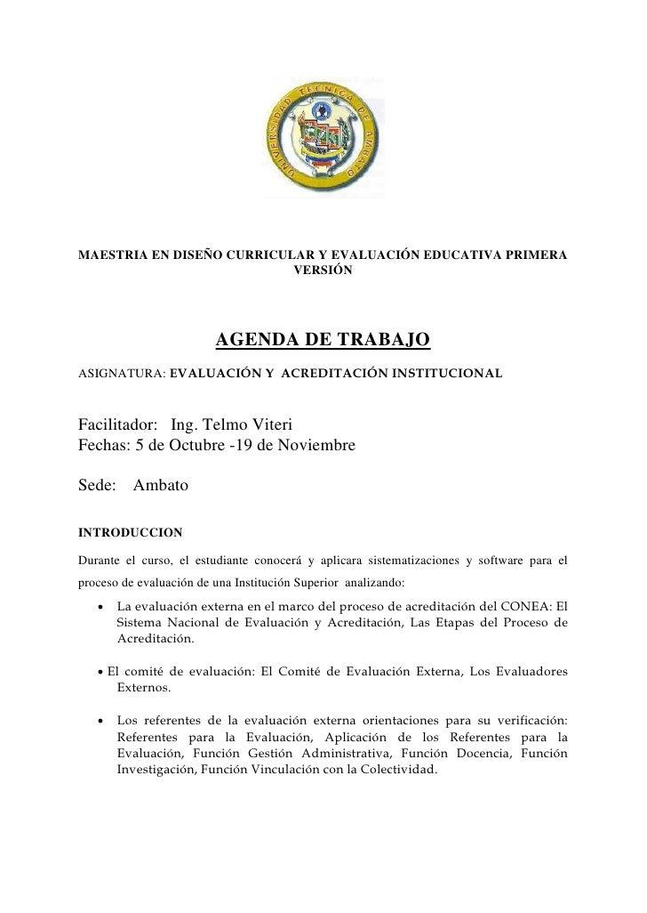 MAESTRIA EN DISEÑO CURRICULAR Y EVALUACIÓN EDUCATIVA PRIMERA                           VERSIÓN                         AGE...