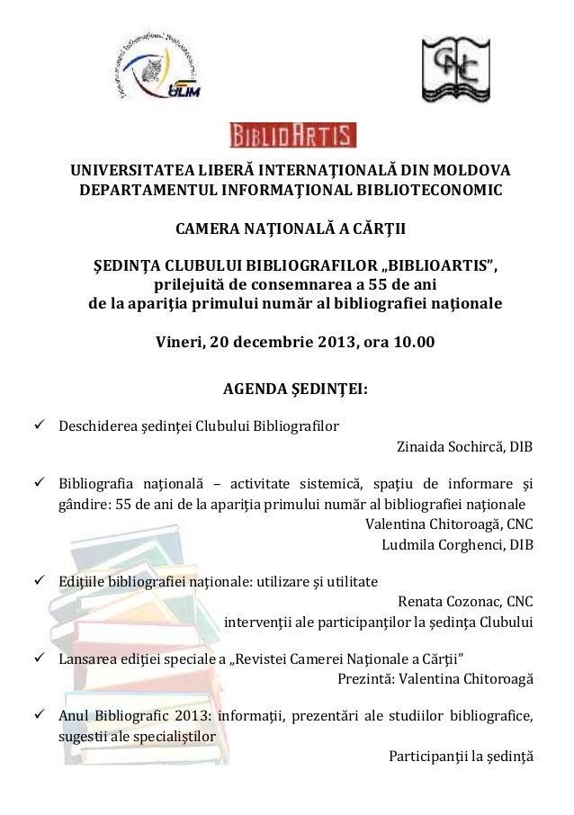 UNIVERSITATEA LIBERĂ INTERNAŢIONALĂ DIN MOLDOVA DEPARTAMENTUL INFORMAŢIONAL BIBLIOTECONOMIC CAMERA NAŢIONALĂ A CĂRŢII ŞEDI...