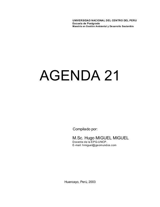 UNIVERSIDAD NACIONAL DEL CENTRO DEL PERU Escuela de Postgrado Maestría en Gestión Ambiental y Desarrollo Sostenible  AGEND...