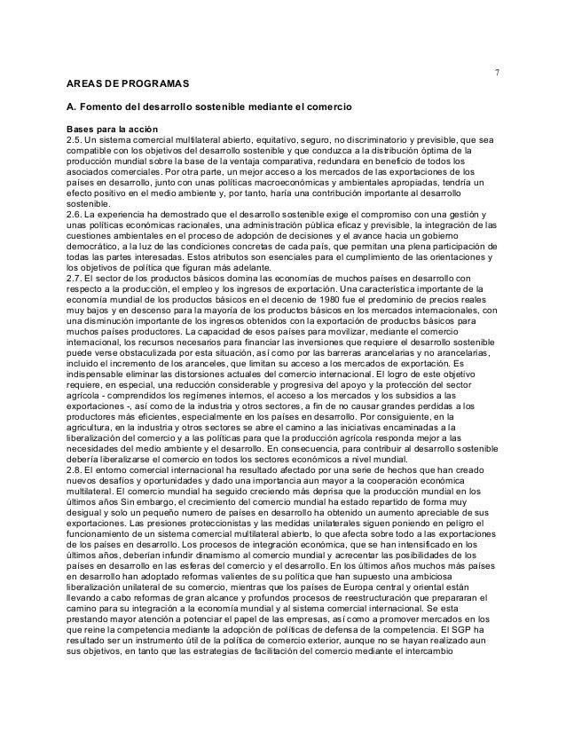 7  AREAS DE PROGRAMAS A. Fomento del desarrollo sostenible mediante el comercio Bases para la acción 2.5. Un sistema comer...