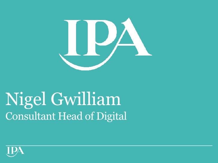 Nigel GwilliamConsultant Head of Digital