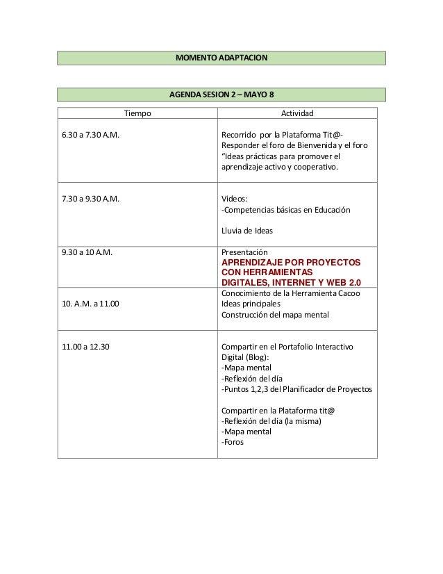 MOMENTO ADAPTACION AGENDA SESION 2 – MAYO 8 Tiempo Actividad 6.30 a 7.30 A.M. Recorrido por la Plataforma Tit@- Responder ...