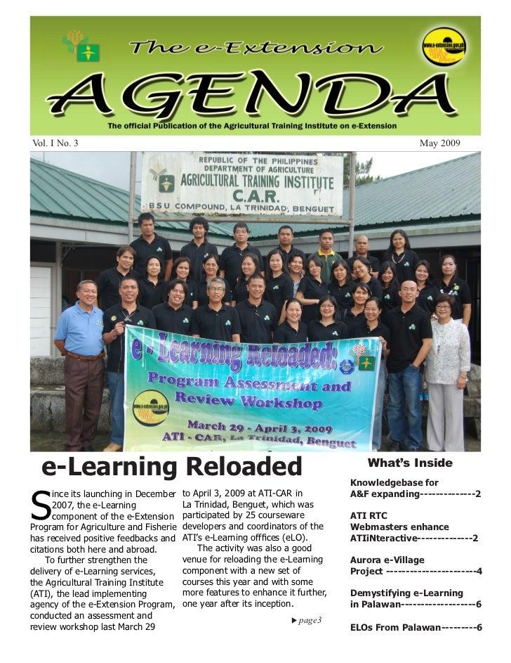 May 2009                                        e-Extension Agenda                                           1Vol. I No. 3...
