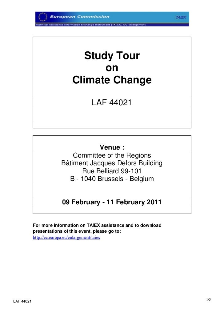 Study Tour                                    on                             Climate Change                               ...