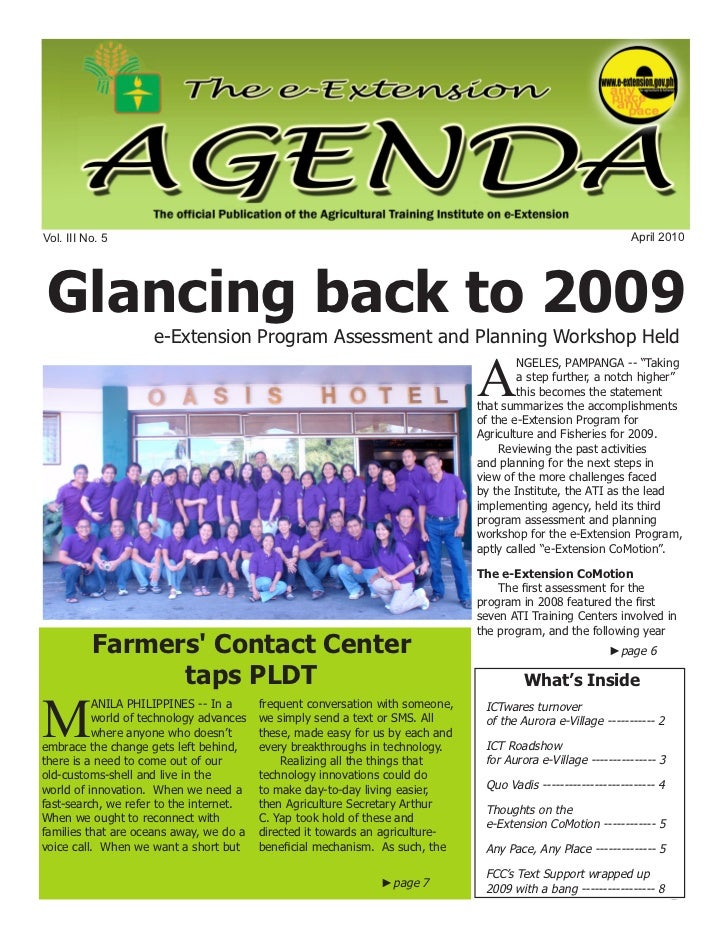 e-Extension Agenda April 2010Vol. III No. 5                                                                               ...