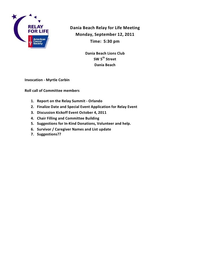 Dania Beach Relay for Life Meeting                               Monday, September 12, 2011                               ...