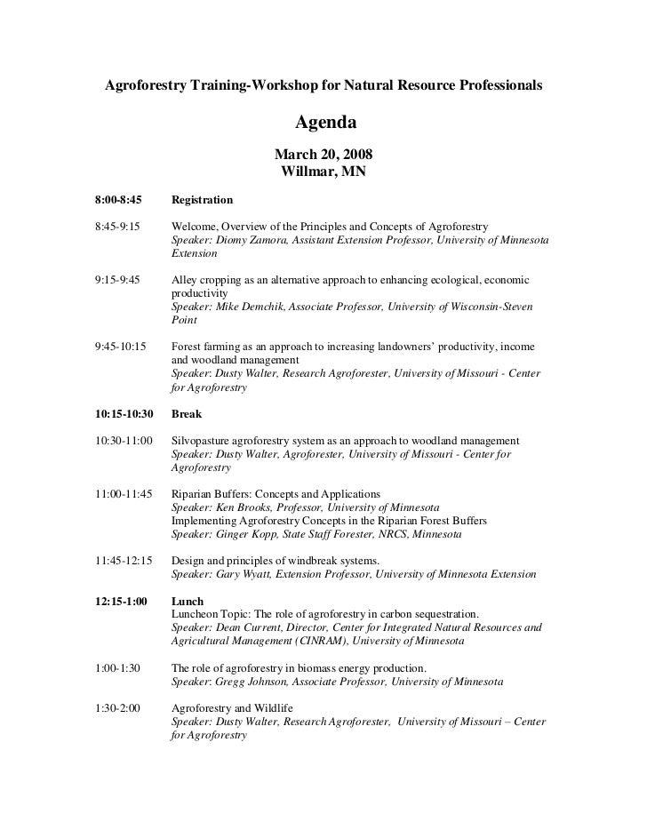 Agroforestry Training-Workshop for Natural Resource Professionals                                         Agenda          ...