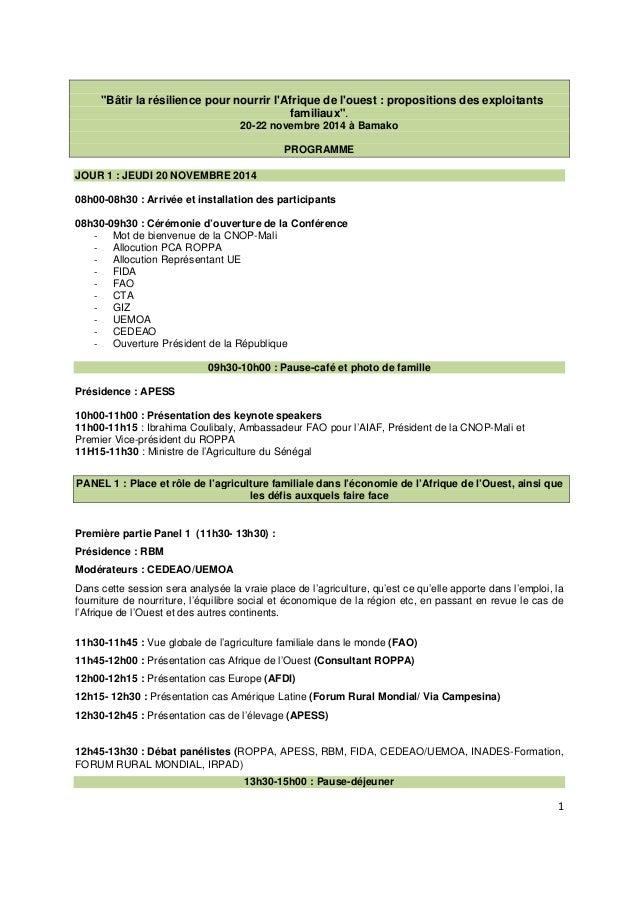 """1  """"Bâtir la résilience pour nourrir l'Afrique de l'ouest : propositions des exploitants  familiaux"""".  20-22 novembre 2014..."""