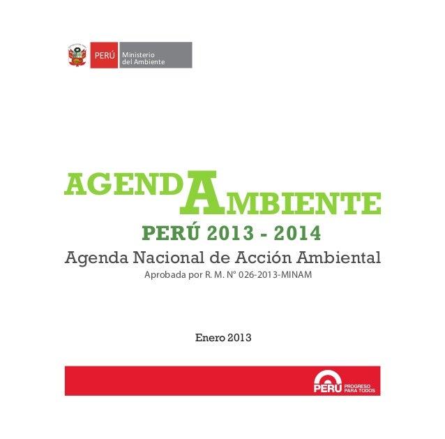 PERÚ 2013 - 2014 Agenda Nacional de Acción Ambiental Aprobada por R. M. N° 026-2013-MINAM Enero 2013 Ministerio del Ambien...