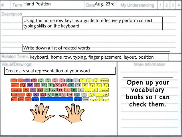 Printables Home Row Keys Worksheet agenda and bellwork 29 hand position aug 23rd using the home row keys