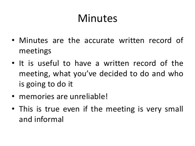 how to do minutes