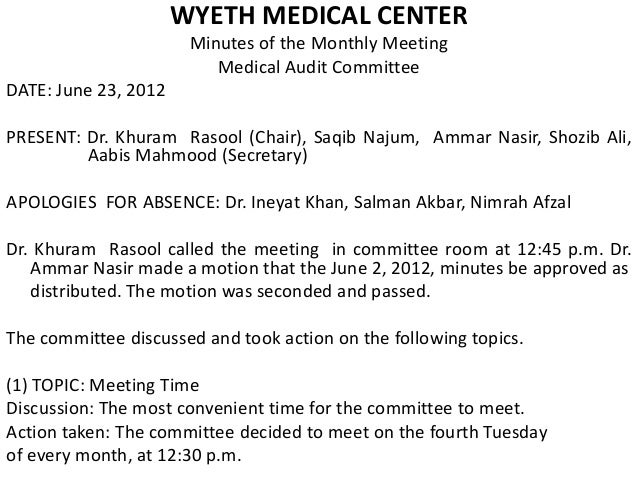 sample minutes of the meeting in office