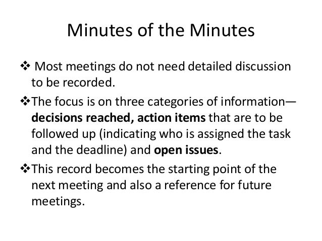 minutes of the meetings