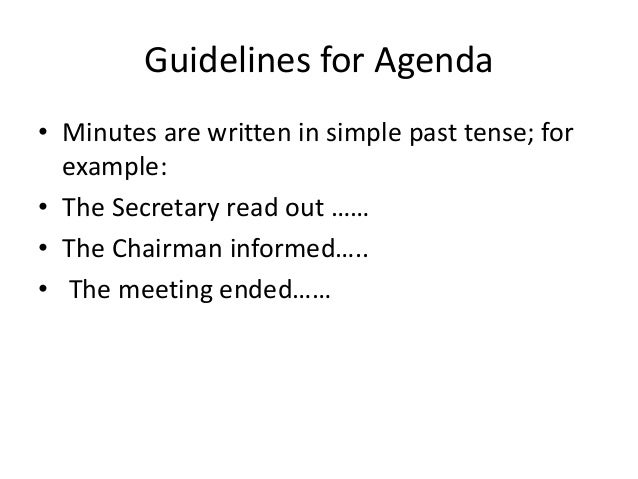Agenda and minutes of meeting – Minutes Example