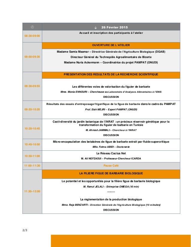 Journée technique sur les résultats de la recherche scientifique pour l'application dans l'industrie de la figue de barbarie bio Slide 2