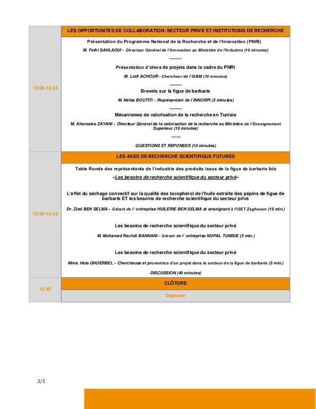 Journée technique sur les résultats de la recherche scientifique pour l'application dans l'industrie de la figue de barbarie bio Slide 3