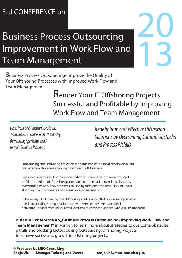 Render Your IT Offshoring ProjectsSuccessful and Profitable by ImprovingWork Flow and Team Management3rd CONFERENCE onBusi...