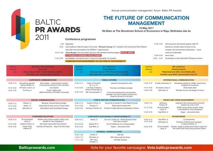 Agenda   Baltic PR Awards 2011