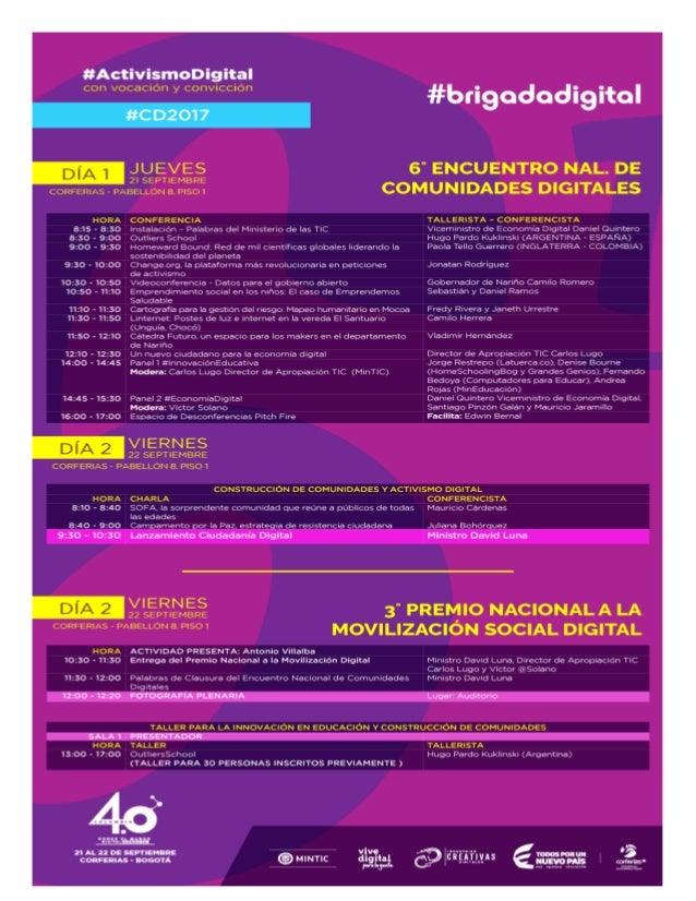 Agenda VI Encuentro de Comunidades Digitales 2017