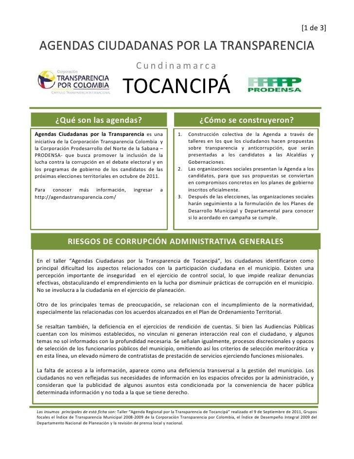 Agenda Ciudadana por la Transparencia -  Tocancipá, Cundinamarca Slide 2