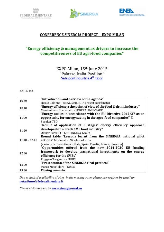"CONFERENCE SINERGIA PROJECT – EXPO MILAN ""Energy efficiency & management as drivers to increase the competitiveness of EU ..."