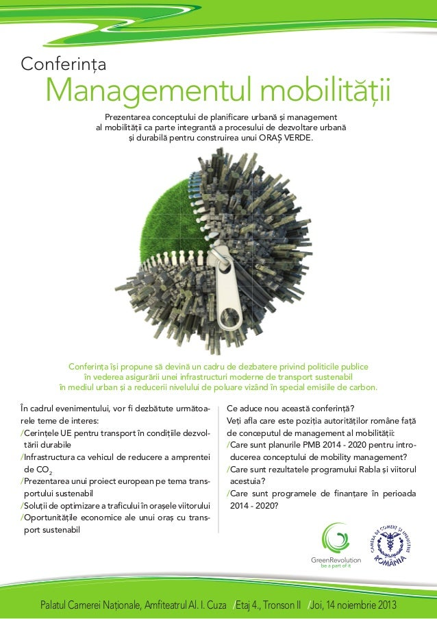 Conferina  Managementul mobilit[ii Prezentarea conceptului de planificare urban[ `i management al mobilit[ii ca parte inte...