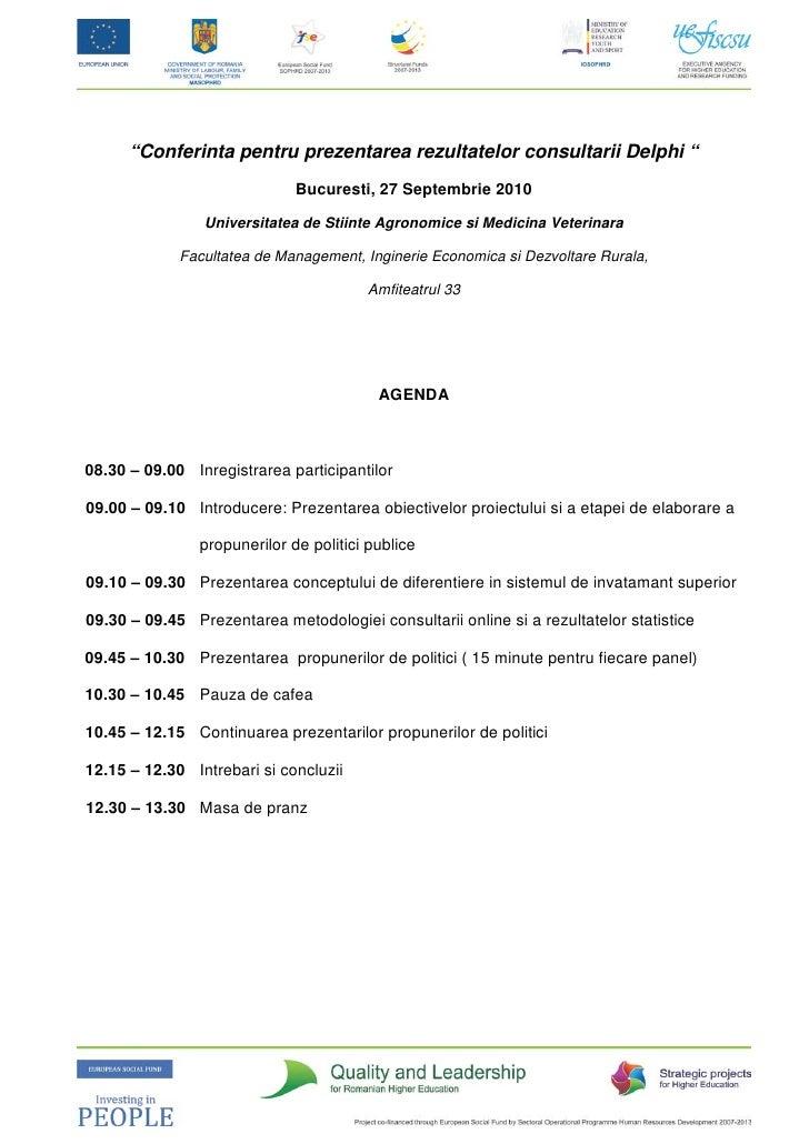 """""""Conferinta pentru prezentarea rezultatelor consultarii Delphi """"                               Bucuresti, 27 Septembrie 20..."""