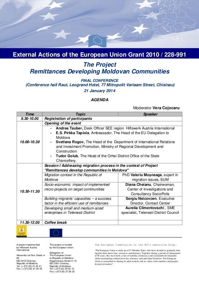 External Actions of the European Union Grant 2010 / 228-991 The Project Remittances Developing Moldovan Communities FINAL ...