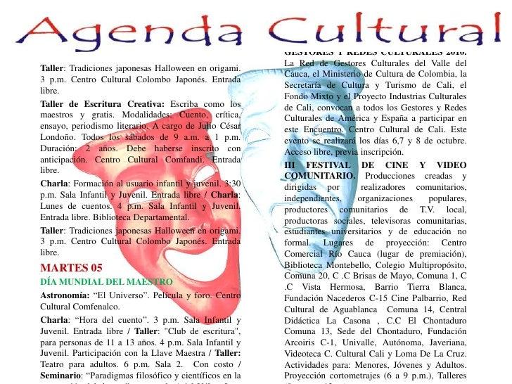 MIÉRCOLES 06<br />ENCUENTRO INTERNACIONAL DE GESTORES Y REDES CULTURALES 2010. La Red de Gestores Culturales del Valle d...