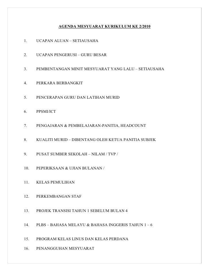 AGENDA MESYUARAT KURIKULUM KE 2/20101.    UCAPAN ALUAN – SETIAUSAHA2.    UCAPAN PENGERUSI – GURU BESAR3.    PEMBENTANGAN M...