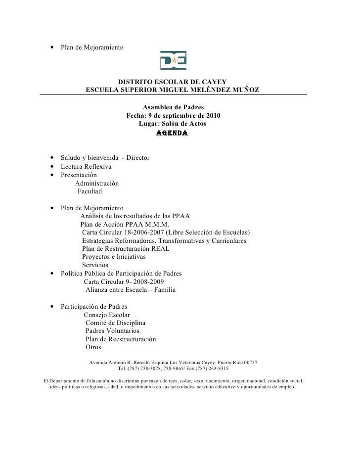 •    Plan de Mejoramiento                              DISTRITO ESCOLAR DE CAYEY                    ESCUELA SUPERIOR MIGUE...