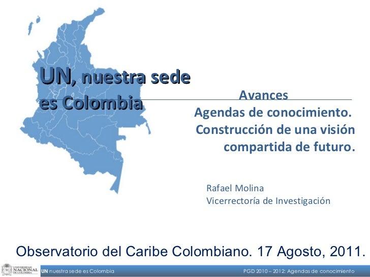Avances Agendas de conocimiento.  Construcción de una visión compartida de futuro. Rafael Molina Vicerrectoría de Investig...