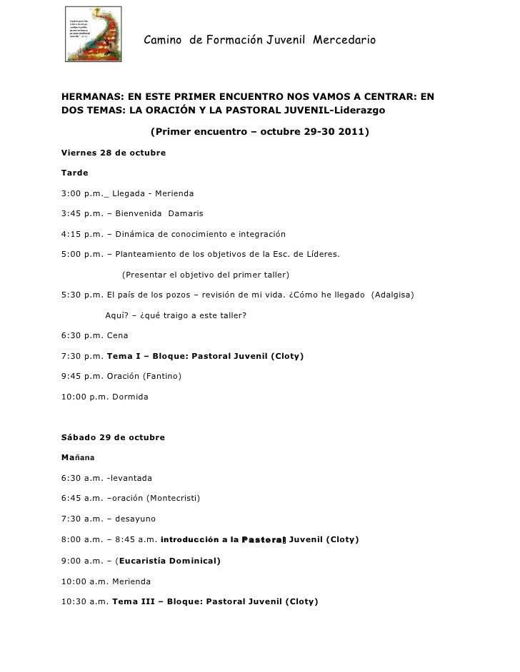 Agenda del primer taller 4ta. gen