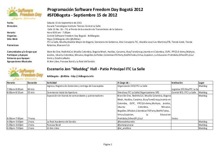 Programación Software Freedom Day Bogotá 2012                            #SFDBogota - Septiembre 15 de 2012Fecha:         ...